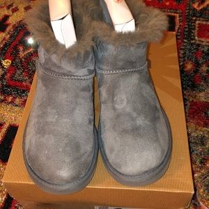 Ugg Mini Bailey Grey with button bling